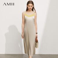 Amii极简轻奢醋酸吊带连衣裙女2021夏季新款气质露背撞色V领长裙