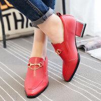 娜箐箐新款韩版头层牛皮磨砂方头粗跟单鞋女中跟真皮深口百搭女鞋