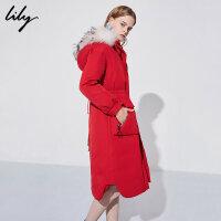 【不打烊价:839.7元】 Lily秋冬新款女装收腰修身中长款红色毛领羽绒服118410D1003
