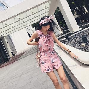 谜秀雪纺时尚套装女2017夏季V领上衣+阔腿短裤女装夏装潮