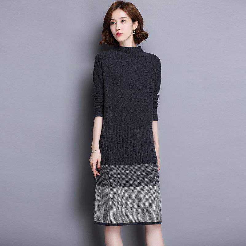 秋冬款羊毛打底裙女中长款毛衫长款过膝毛衣裙内搭针织连衣裙