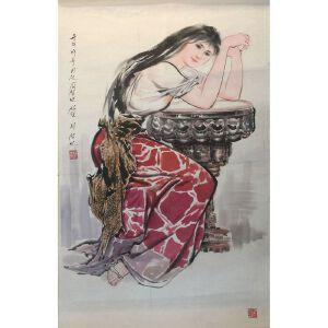 朝鲜水墨画 一级画家 李成民《柔媚》【大千艺术品】