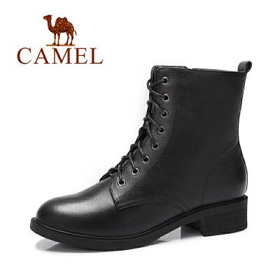 Camel/骆驼  新款 女鞋休闲时尚纯色短靴 系带女靴子