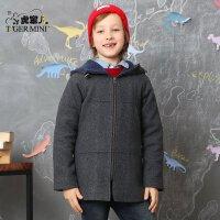 小虎宝儿童装男童呢大衣外套 儿童加厚羊毛呢子中大童韩版冬装