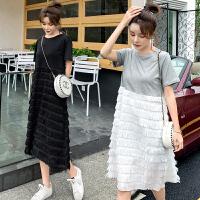 2019夏装新款韩版孕妇连衣裙潮妈短袖长款裙子孕妇装夏天裙子时尚款