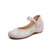 女夏低跟古风汉服鞋子内增高一字扣带民族风坡跟绣花鞋 米色 001