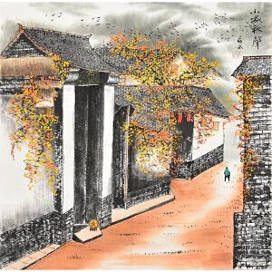 当代著名画家薛永69 X 69CM山水画gs01450