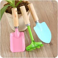 家庭园艺工具迷你木柄小铁铲耙子种花盆栽三件套装A796花铲小铲子