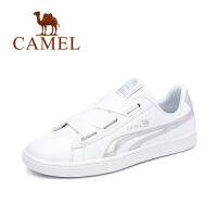 Camel/骆驼女鞋 秋季新款时尚炫彩平跟板鞋单鞋百搭系带小白鞋女潮