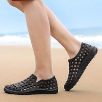 新款洞洞鞋韩版夏防滑凉拖鞋子男女情侣沙滩鞋日常透气凉鞋男特价 80黑色
