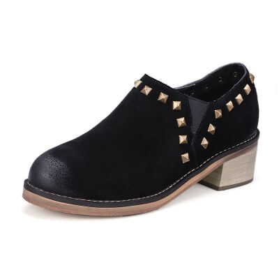 ELEISE美国艾蕾莎春季上新003-V115欧美磨砂牛皮反绒皮中高跟粗跟女士单鞋