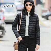 AMII[极简主义]冬新款纯色修身大码加厚外套羽绒服女11671905