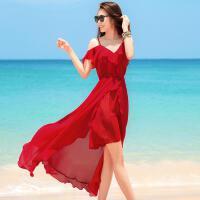 波西米亚连衣裙巴厘岛红色气质沙滩裙海边度假仙女雪纺吊带裙 西班牙女郎 红色