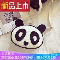 新款女包日韩单肩小包包可爱熊猫女式斜挎包儿童卡通手提包