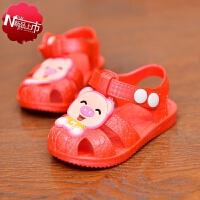 2019年夏季新款童鞋可爱男女宝宝凉鞋0-1-2-3岁婴儿学步鞋包头凉鞋婴幼儿软底防滑凉鞋儿童叫叫鞋