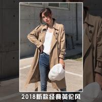 风衣女中长款2018早秋冬装新款韩版矮个子显高过膝chic系带外套春 卡其色
