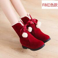 冬季网红马丁靴棉鞋女冬英伦风短靴春秋季靴子女新款雪地靴内增高 F8红色 35