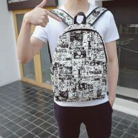 时尚潮流男士背包大学生休闲涂鸦个性帆布双肩包学生书包校园韩版 黑白涂鸦包