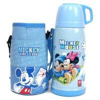 迪士尼新款保温杯 米奇不锈钢保温瓶/学生水壶配背带杯套儿童水杯 可爱杯子 高品质 超长保温