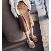 谜秀 针织半身裙女2017冬装新款韩版修身高腰包臀裙中长款裙子潮