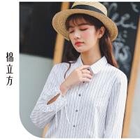 竖条纹衬衫女2019春季新款棉立方韩版荷叶边拼接系带长袖纯棉衬衣