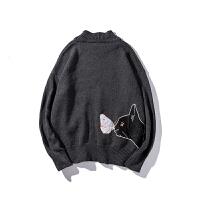 毛衣女情侣装秋装韩版卡通猫针织衫外套青少年潮男宽松休闲打底衫