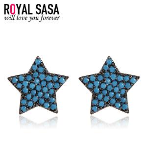 皇家莎莎s925银针耳钉耳环女韩国版气质五角星个性星星耳坠耳饰品生日礼物