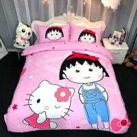 【人气】蜡笔小新樱桃小丸子全棉卡通三四件套纯棉被套儿童床单笠床上用品