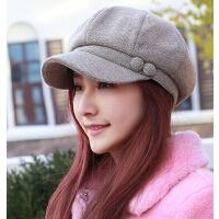 韩版时尚加绒八角帽鸭舌帽 新款女士大码画家帽冬帽