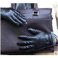新款男士羊皮手套 户外开车骑车加绒加厚保暖真皮手套可触屏调节手套