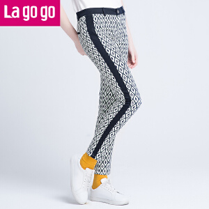 lagogo拉谷谷秋季黑白格纹修身显瘦铅笔裤女裤子休闲裤百搭长裤