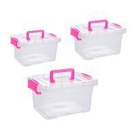 透明收纳箱三件套 整理箱塑料箱子 有盖大小号手提储物箱衣物收纳盒抖音同款 具体尺寸以详情做参考