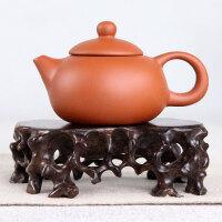 奇石紫砂茶壶多肉微型盆景架 黑檀木实木根雕镂空根艺底座木托