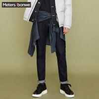 美特斯邦威牛仔长裤男士春秋季新款弹力修身显瘦小脚裤子韩版潮