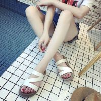 欧美时尚防滑女学生两穿平跟平底女式沙滩凉鞋拖鞋一字拖