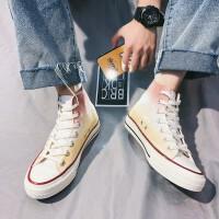 男鞋休闲鞋2019夏季新品高帮帆布鞋韩版潮流网红运动板鞋潮鞋子男学生青少年时尚小白鞋