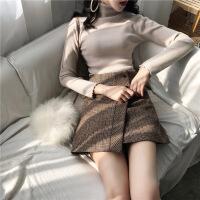 英伦奶茶系格纹半身裙高腰女2018秋冬新款百搭格子a字短裙包臂裙 咖啡色