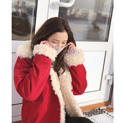 谜秀棉服女短款2017秋冬装新款韩国宽松加厚毛领棉衣小个子棉袄潮