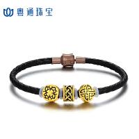 粤通珠宝足金999 DIY刺青串珠3D硬金转运珠黄金手链