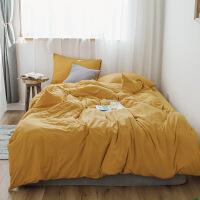 全棉纯色简约素色针织棉被套四件套床单 床笠四件套