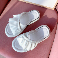厂家出清 女士花边拖鞋 厚底平底凉鞋 舒适柔软鞋
