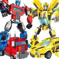 儿童变形机器人金刚益智积木拼装玩具兼容乐高大黄蜂擎天柱男孩子