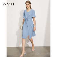 Amii极简通勤风雪纺连衣裙女2021夏季新款显瘦不规则开叉收腰裙子