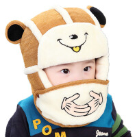 茉蒂菲莉 儿童口罩帽子 男女宝宝口罩雷锋帽护耳加厚秋冬款两件套装