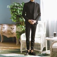 小西装男套装修身韩版英伦风新郎结婚礼服男士休闲帅气西服外套