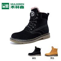 木林森2018冬款马丁靴男靴潮百搭英伦中帮工装靴系带休闲高帮靴