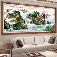 流水生财十字绣线绣新款山水客厅大幅满绣刺绣十字绣中国风景古典