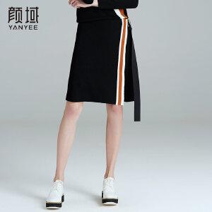 颜域品牌女装2017冬装新款飘带针织撞色拼接条纹半身裙A字单裙冬