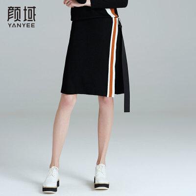 颜域品牌女装2017冬装新款飘带针织撞色拼接条纹半身裙A字单裙冬撞色条纹,清新时尚
