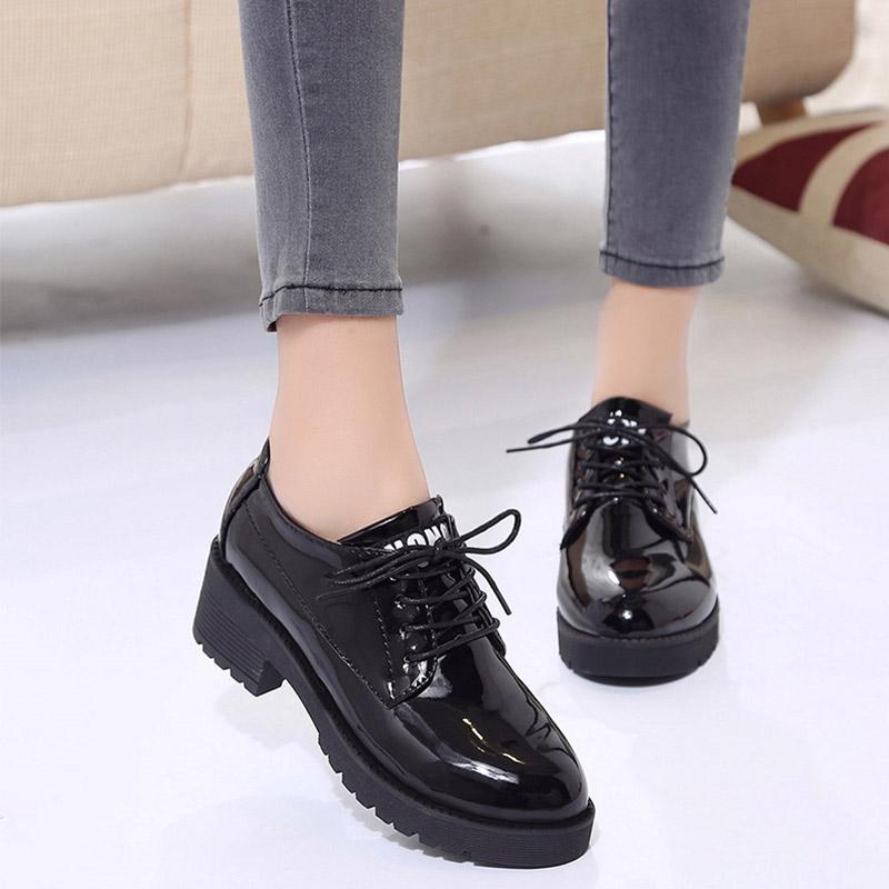20190923004419478秋新款英伦复古字母系带黑色单鞋女鞋子漆皮圆头厚底小皮鞋女